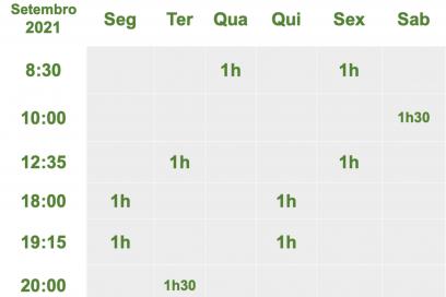 SCHEDULE / TIMETABLE – HORÁRIO